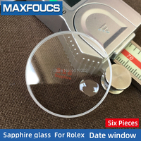 Flat Sapphire Date window Watch glass Fits For Rolex without the date Replacement watch accessories 6 Pieces Suit