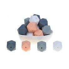 Mabochewing 50 pçs 17mm hexagonal silicone dentição grânulos grau alimentício macio bebê mastigar grânulo mordedores acessórios
