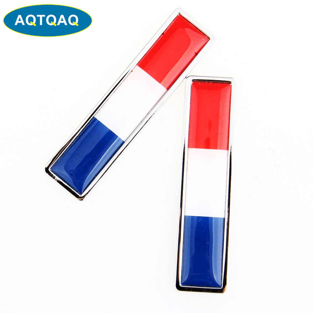 1 Pair Country National Flag France Hot Metal Stickers Car Styling Motorcycle Accessories Badge Label Emblem Car Stickers(China)