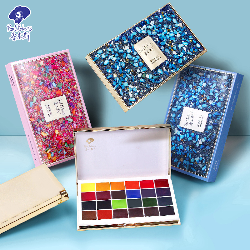 Paul Rubens Exquiste 24 Color Portable Stone Style Pocket Solid Watercolor Set For Artist Traveling