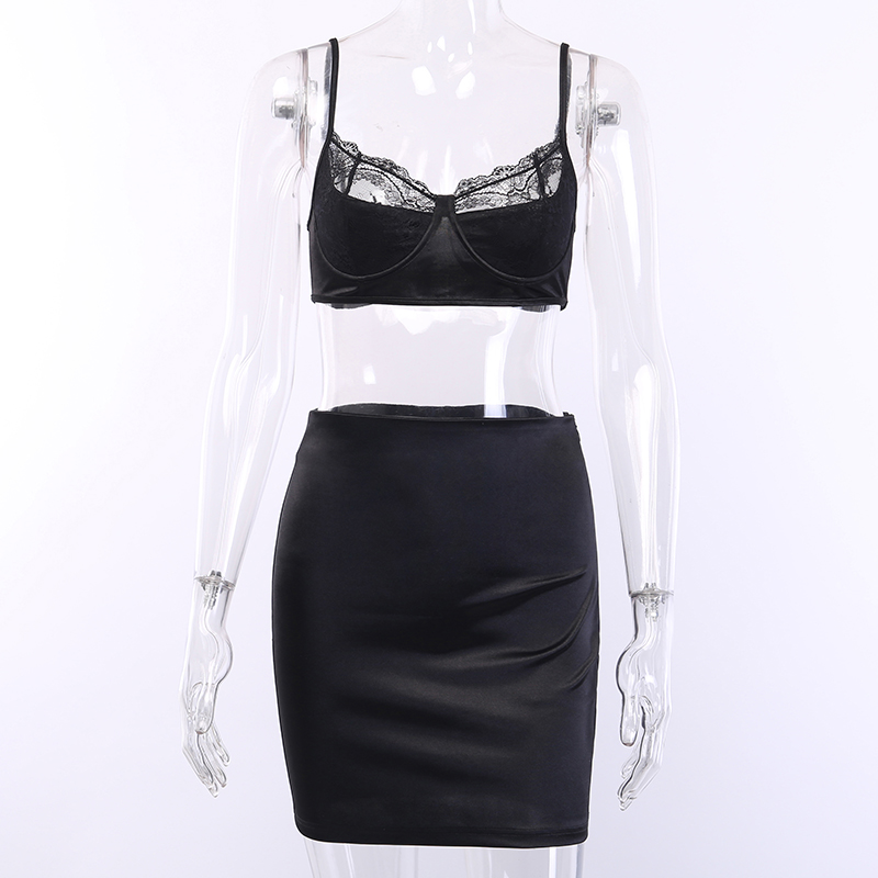 WannaThis Sexy Satin Lace 2 Pieces Sets Women Black Crop Top and Mini Skirt Skinny Lace Patchwork Female Fashion Silk Party Sets in Women 39 s Sets from Women 39 s Clothing