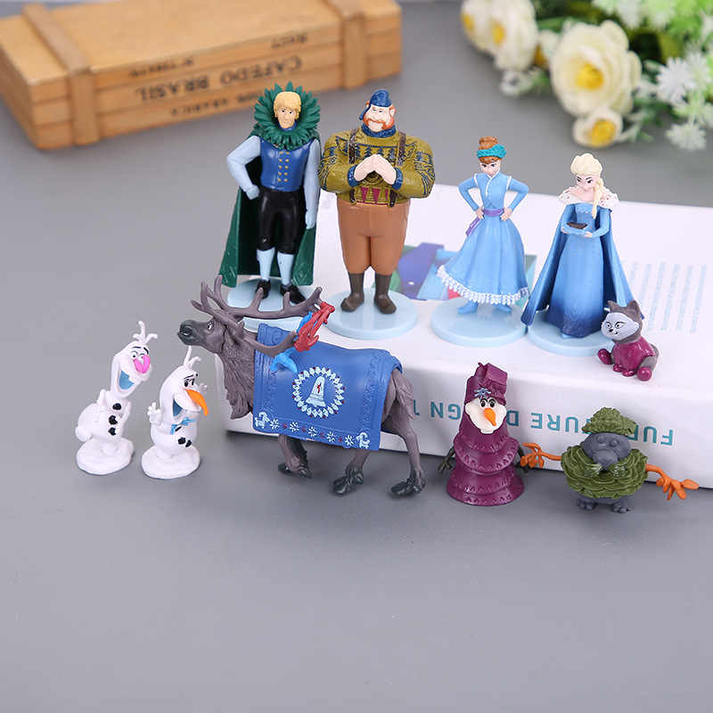 10 шт./компл. Frozen2 Снежная королева Эльза Анна ПВХ Фигурки Олаф Кристоф Свен аниме куклы фигурки, детские игрушки для детей Подарки