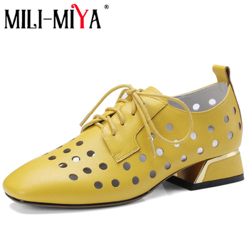 MILI-MIYA Casual Women Pumps Genuine Leather Lace-Up Square Heels Hollow Out Loafers Offical Shoes Plus Size 34-42 For Ladies