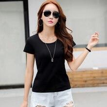 100% Cotton 2019 Summer Women Tunic T Shirt Solid White Short Sleeve Casual Top Slim Basic minimalist plus size 3xl Tee
