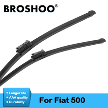 BROSHOO Car Windshield Wiper Blade Natural Rubber For Fiat 500 500C 500L 500X Fit Push Button Arm From 2007 To 2017 Accessories sliverysea rear wiper blade no arm for honda stream mk 1 2000 2006 12 5 door mpv high quality iso9001 natural rubber b1 30