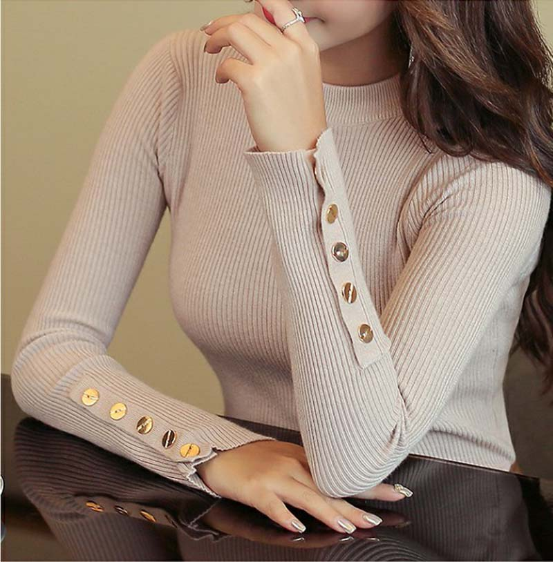 2019 Fall New Women O-neck Sweater Pullover Solid Color Knitted Slim Sweaters Tops Button Winter Casual Sweater Jumper Top