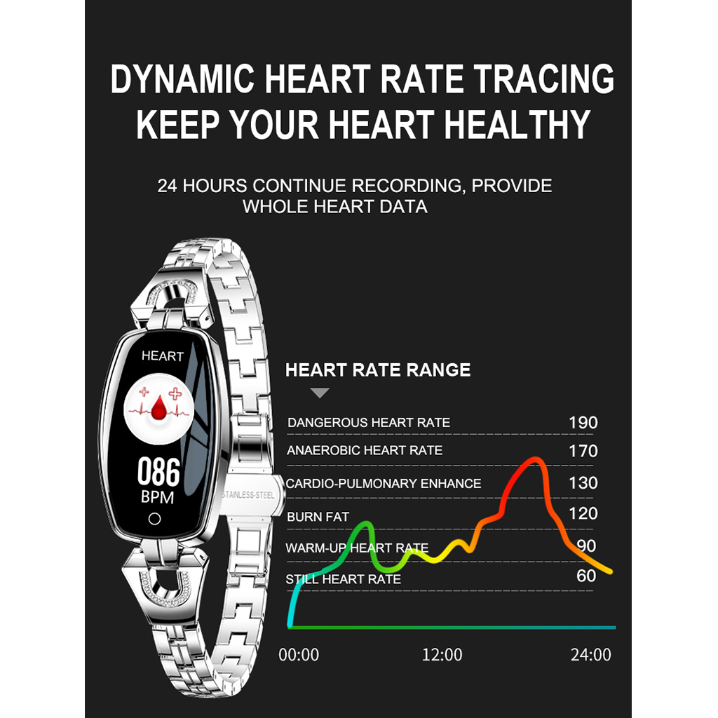 Image 5 - H8 Waterproof Smart Bracelet Women Sports Smartband Heart Rate Blood Pressure Monitor Watch Fitness Tracker for iOS for AndroidSmart Wristbands   -