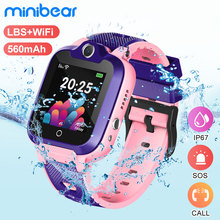 Minibear子供スマートウォッチIP67防水スマート時計の子供電話腕時計2グラムsimカードsos腕時計誕生日ギフト少女少年