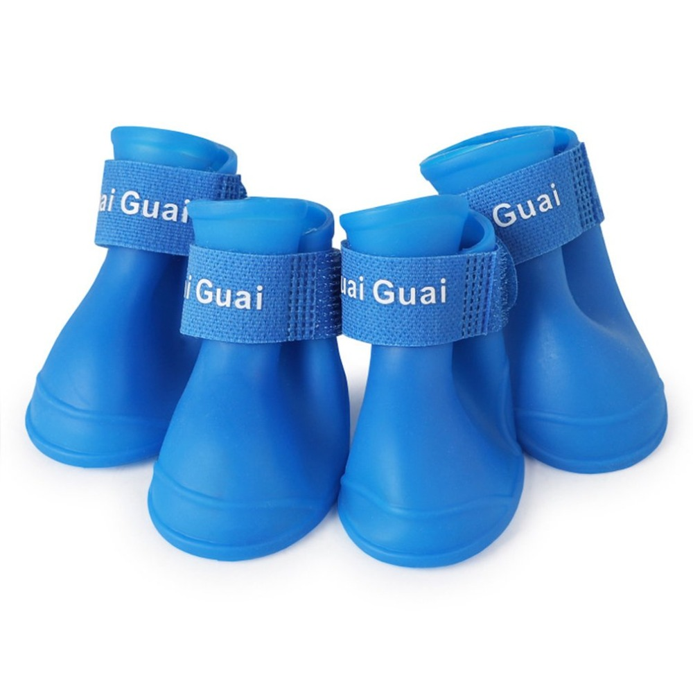 New pet silicone rain boots four dogs non-slip candy color <font><b>shoes</b></font> wear waterproof suitable for small and medium dogs image
