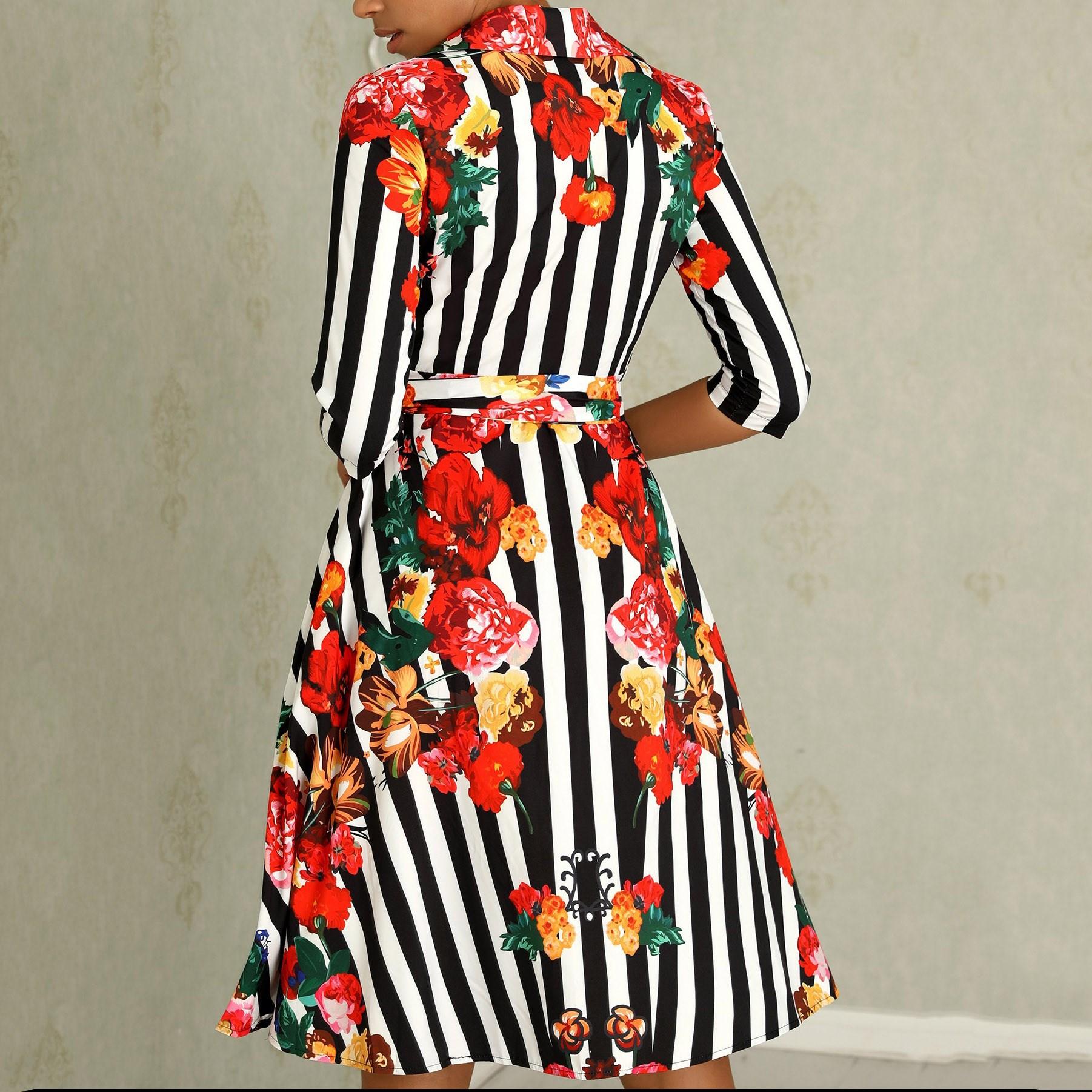 Frauen Sommer Floral Halbe Hülse Kleider Schärpen Damen Revers Hemd Kleid Mid Streifen Gedruckt Kleid - 5