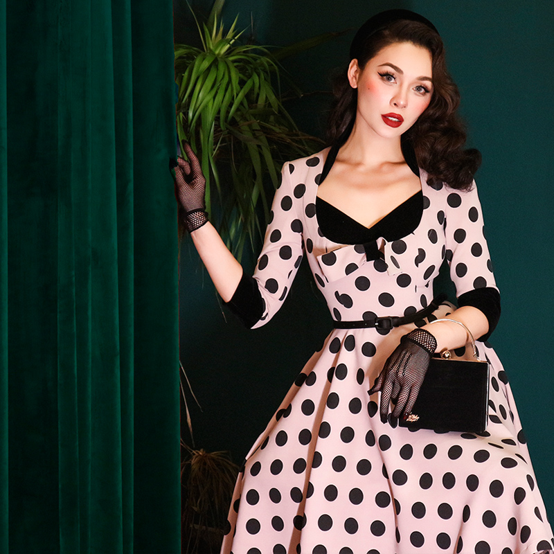 Le Palais Vintage 2019 Winter Original Vintage Classic Dot Mock Two-Piece Collect Waist Big Swing Knee-Length Women Dress