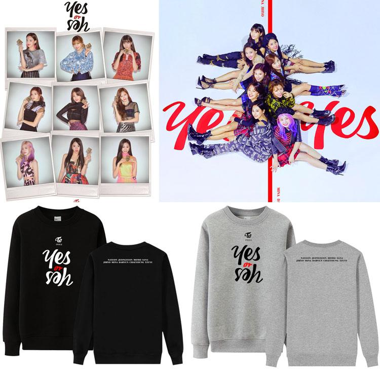 TWICE Album YES Or YES Cover Kpop Men And Women Round Collar Sweatshirt Loose Pullover Winter Long Sleeve Sweatshirt