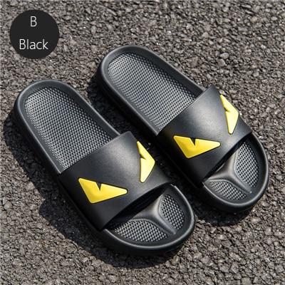 Coslony Men's Slippers Women Massage Devil Men Shoes Eyes Flip Flops Cartoon Male Sandals Two Different Soles Summer Couples Man