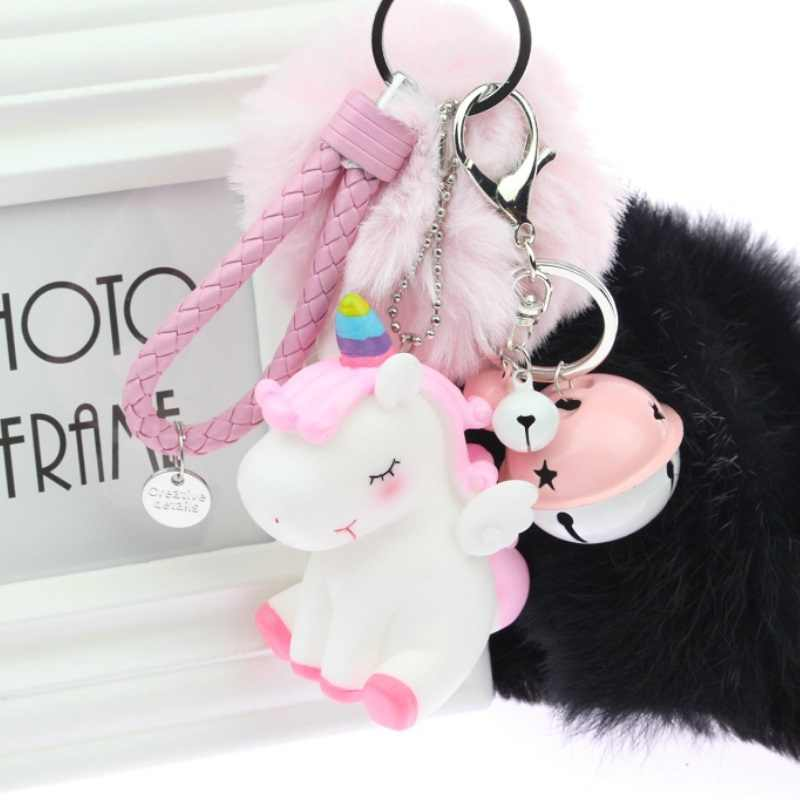 2019 Rainbow PVC Animal Unicorn Fur Keychain for Men Women Bag Ornament Phone Key Chain Porte Clef keyring Bag Decoration