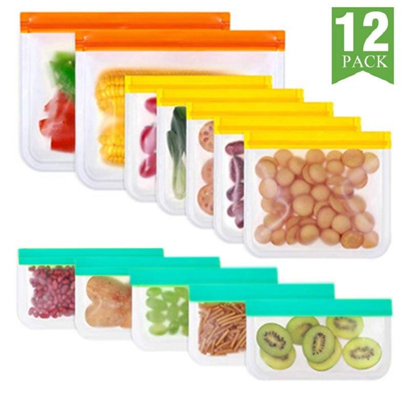 12 шт./компл. силиконовый Пакет для продуктов, многоразовый пакет для сохранения свежести, герметичный пакет для фруктов и овощей, герметичны...