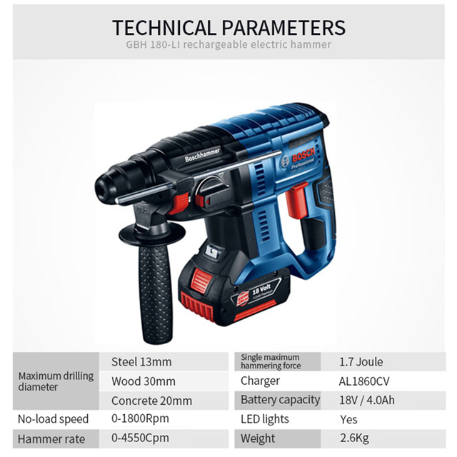 Bosch Electric Impact Drill Four Pits Lithium Rechargeable Powerful Wireless Multi-function Household 18V Electric Hammer Drill 2