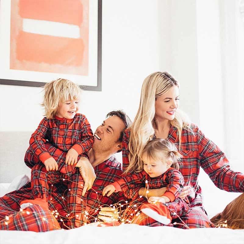 Couple Outfits Pajamas Christmas-Set Family Matching Red Autumn Plaid