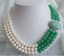 Jewelry Pearl Necklace 3 Rows Jewelry 9-10MM Real White Freshwater Pearl & Natural Green Jade Necklace Free Shipping(China)