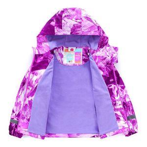 Image 4 - Marke Wasserdichte Warme Fleece Lavendel Druck Kind Mantel Baby Mädchen Jacken Kinder Oberbekleidung Kinder Outfits Für Höhe von 98 152cm
