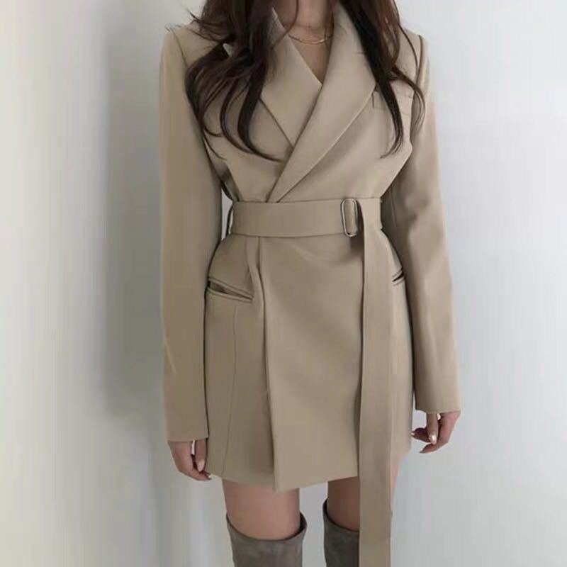 Korean Style Women Office Lady Blazer Female Suit Collar Long Sleeve Slim With Sashes XS-L Autumn 2020 New Arrival Fashion