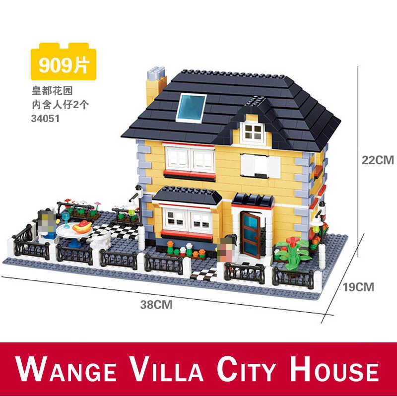 Wange 34053 Super Große Villa Stadt Kompatibel DIY Architektur Gebäude Block Struktur DIY Haus Ziegel Eductional Spielzeug 34052