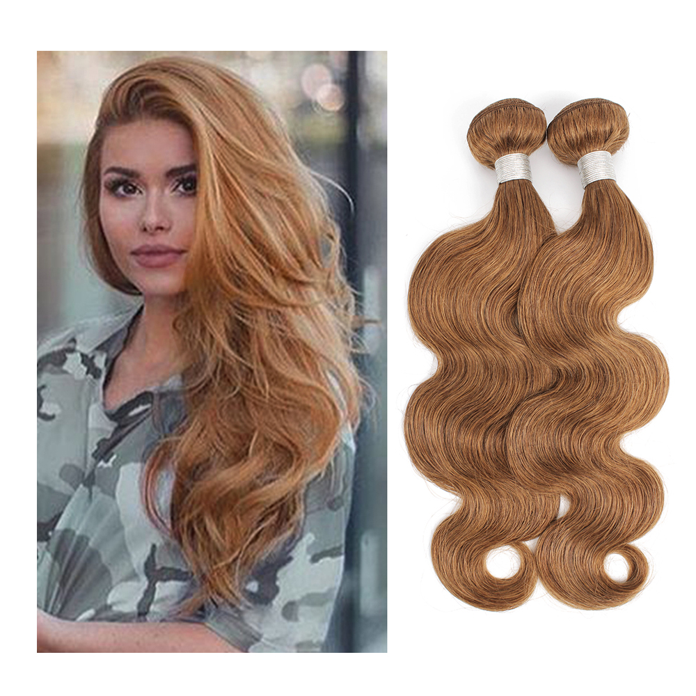 Body Wave Bundles Color 30 Brown Auburn Pre-Colored 16-24 inch Good Quality Remy Human Hair Extension 16-24 inch MOGUL HAIR