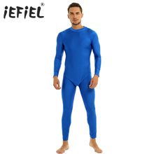 Catsuit Dancewear Gymnastics-Leotard Unitard One-Piece Adults Mens Solid Mock-Neck Well-Fit