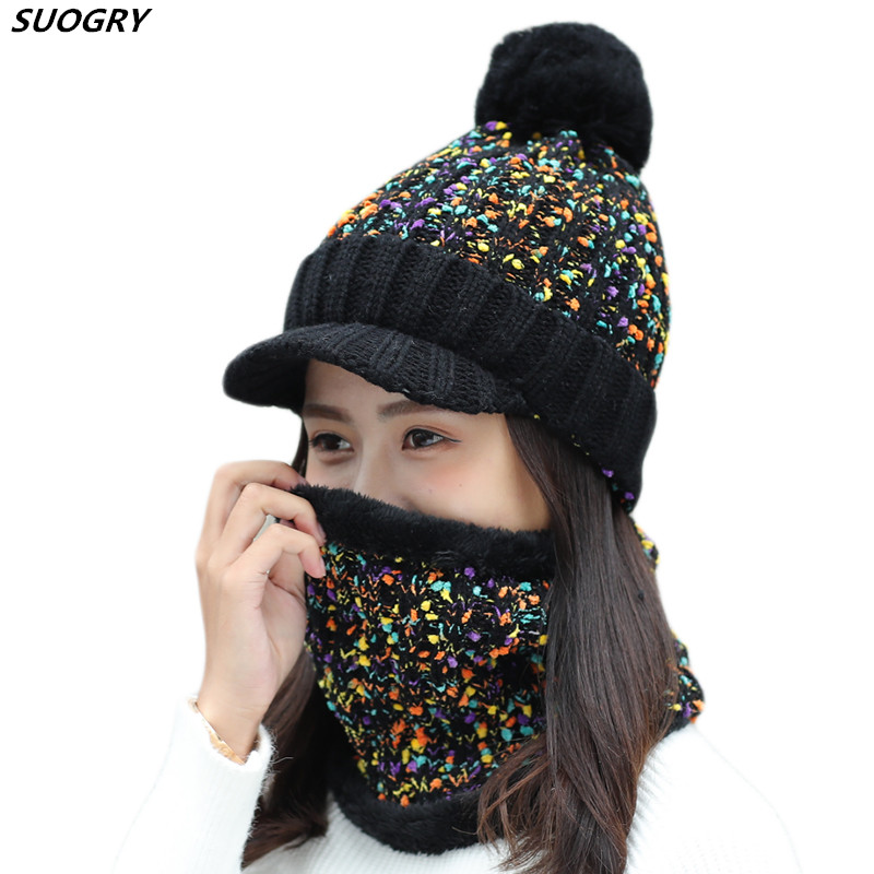 Thick Warm Women Hat Set Scarf Fur Pompons Beanie Hat And Scarf Set For Women With Wool Lining Knitted Hat Winter Scarf Set