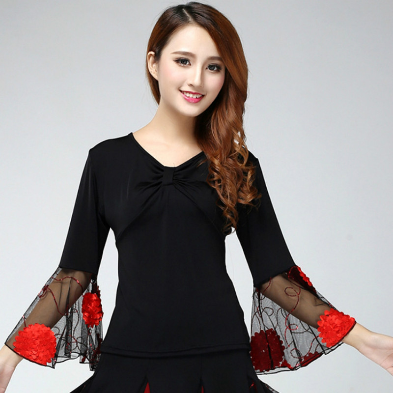 2020 Ballroom Dance Costume Tops Flamenco Blouses Standard Modern Outfits Waltz Latin Salsa Rumba Dancewear Tops Long Sleeves