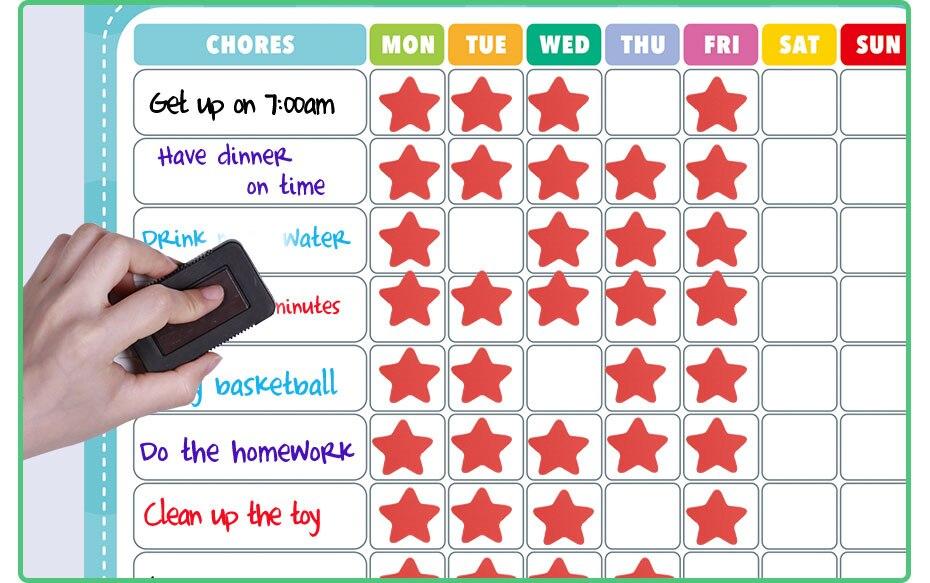 Calendário semanal magnético calendário horário carta de