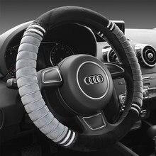 Housse de volant de voiture en peluche, couvre-volant auto garde au chaud, court, diamètre 38 cm, hiver