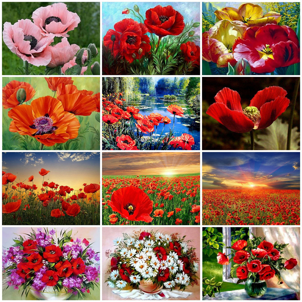 HUACAN Home-Decoration Flowers-Handpainted-Kits Painting-Art Canvas Gift By Numbers Dawing title=
