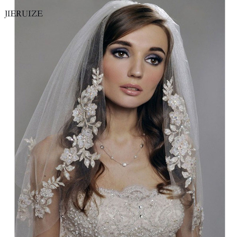 JIERUIZE White Ivory Lace Short Wedding Veils 2020 Cheap Bridal Veils With Comb Wedding Accessories
