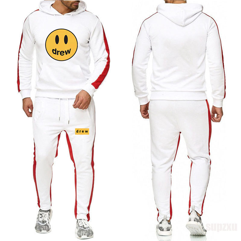 Fashion Hoodie Justin Bieber The Drew House Smile Face Print Women's Men's Colorblock Hoodie Sweatshirt Hip Hop Pullover + Pants