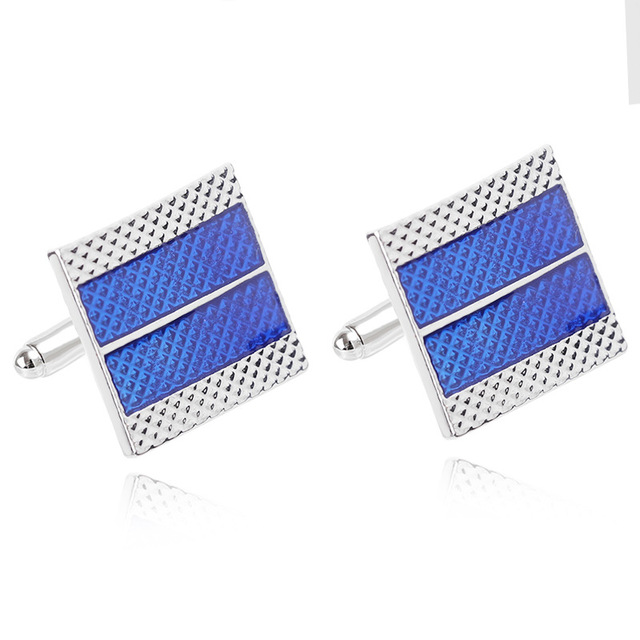 Men's Business  Geometric Square Blue Grid Tie Clips & Cufflinks  6