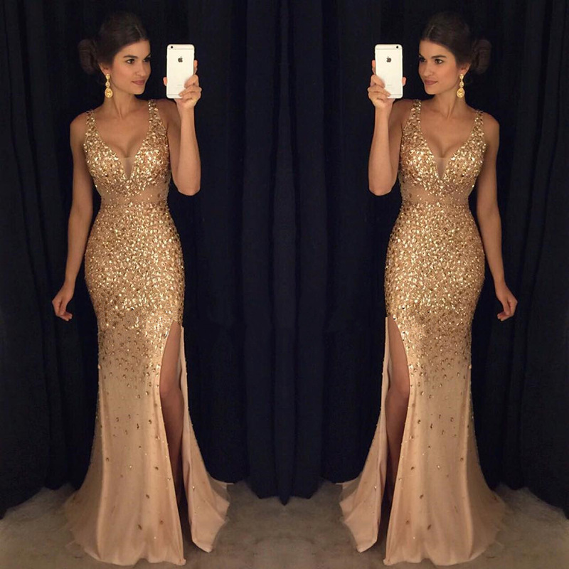2019 Summer New Style European And American-Style Hot Selling Slit Sequin Dress Maxi Evening Dress