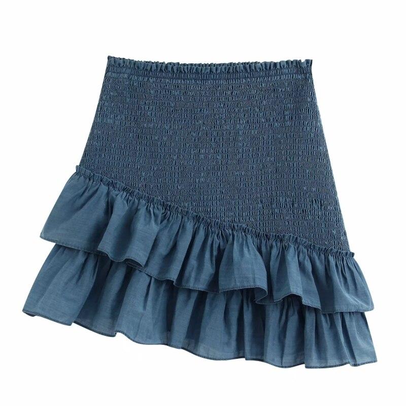 Women Fashion Solid Color Elastic Pleated Ruffles Asymmetrical Skirt Faldas Mujer Ladies Vestidos Chic Ruffles Skirts QUN560