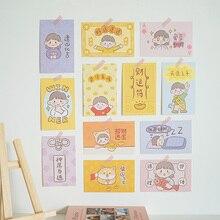 Sandro cute girl heart shaped postcard good luck blessing prayer greeting card hand account source wall decoration card 30 sheet