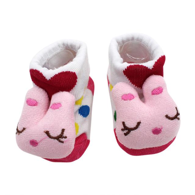 1Pair Socks Fashion Lovely Cartoon Newborn Baby Girls Boys Anti-Slip Comfortable Socks Slipper Shoes Boots Soft Sprout skarpetki