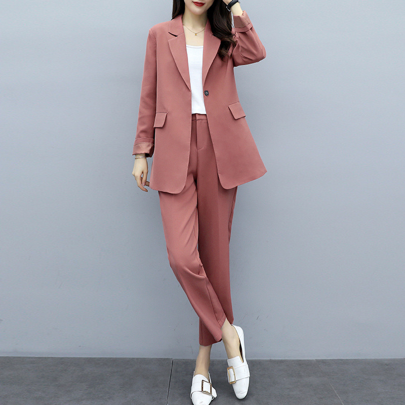 Casual Ladies Suit Sets Pants Suit Large Size XL-5XL Spring And Autumn Women's Jacket Suit Female Slim Pants Two-piece 2019 New