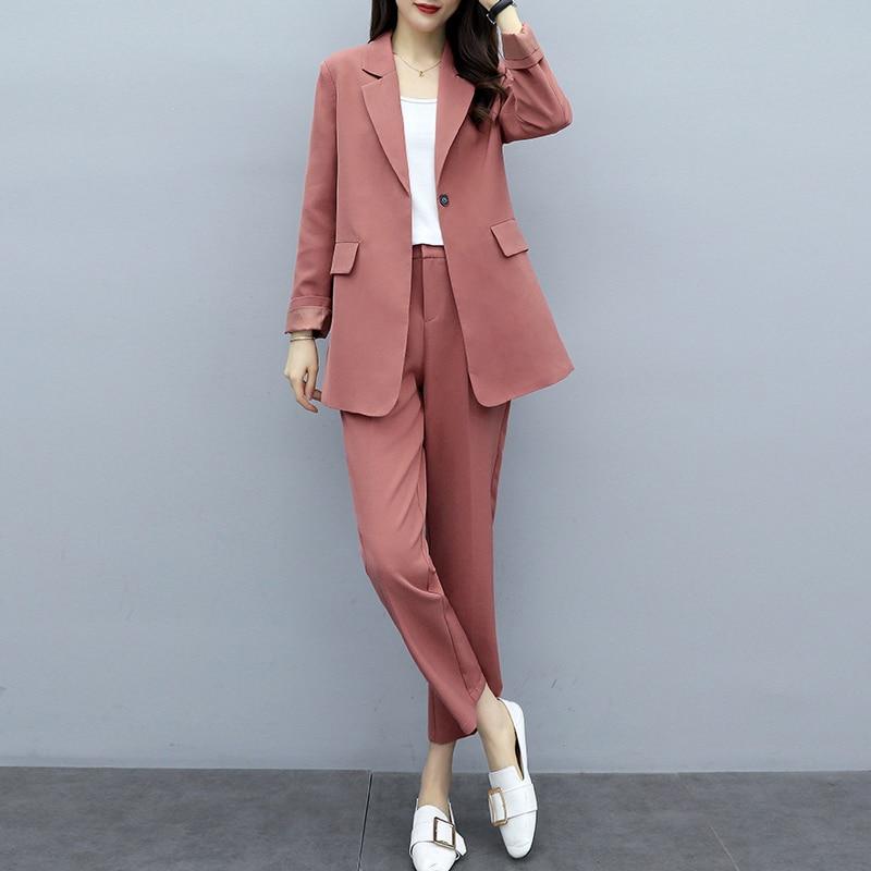 Casual Ladies Suit Sets Pants Suit Large Size XL-5XL Spring And Autumn Women's Jacket Suit Female Slim Pants Two-piece 2019 New