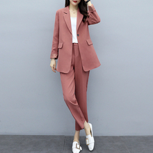Casual ladies suit sets pants large size XL-5XL Spring and autumn womens jacket Female slim Two-piece 2019 New