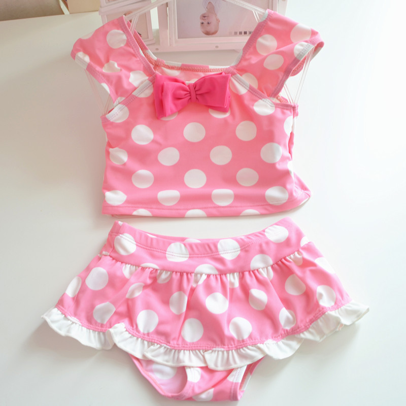 [Micro For 2017 New Style Children Infants Pink Lady Polka Dot Bow Hem Split Type