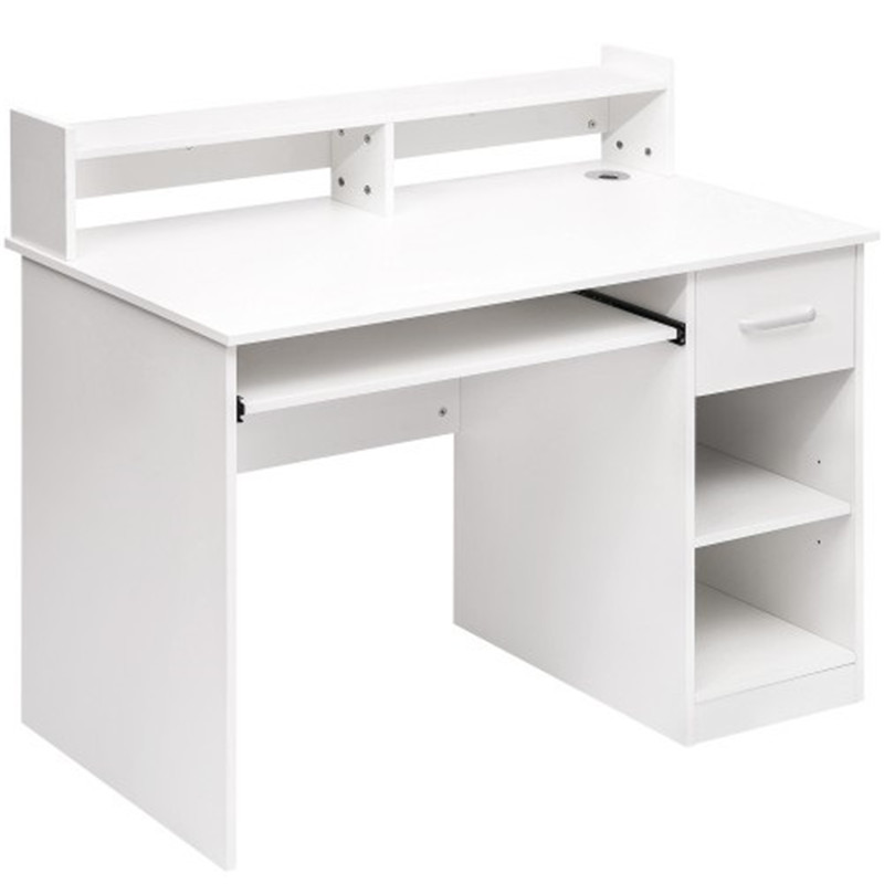 Computer Desk Office Home Furniture Writing Desk With Hutch And Keyboard Tray