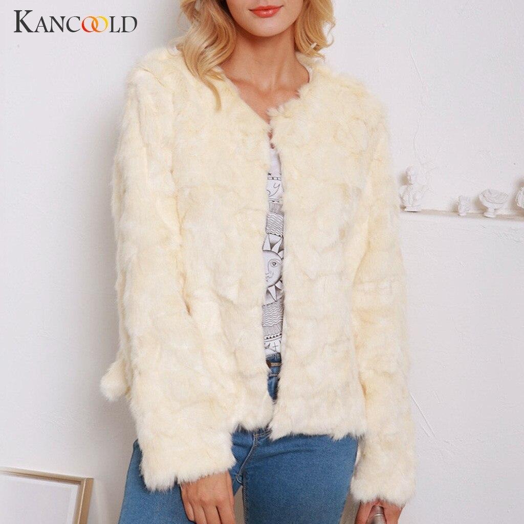 KANCOOLD Coats Winter Lady Women Warm Short Faux Fur Splice Zipper Parka Outerwear Fashion New Coats And Jackets Women 2019AUG20