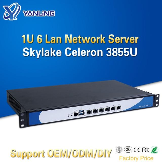 Yanling 19 אינץ 1U מתלה שרת Intel Skylake Celeron 3855U Dual Core חומת אש מחשב Barebone מערכת 6 Lan תמיכה AES NI pfsense