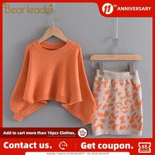 Sweater-Top Elegant Clothes Fashion Outfit Clothing-Sets Skirt Girls 2-6-Years Bear Leader