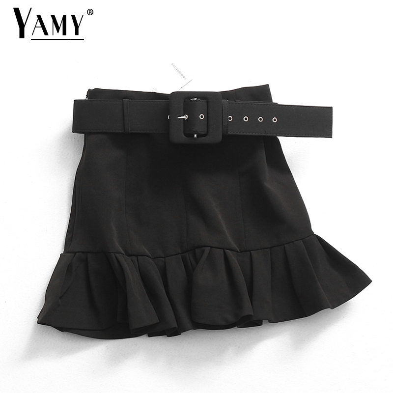 Hlack Pleated Skirts Womens High Waist Skirt Korean Short Vintage Skirt Belt Ruffle Skirts Streetwear
