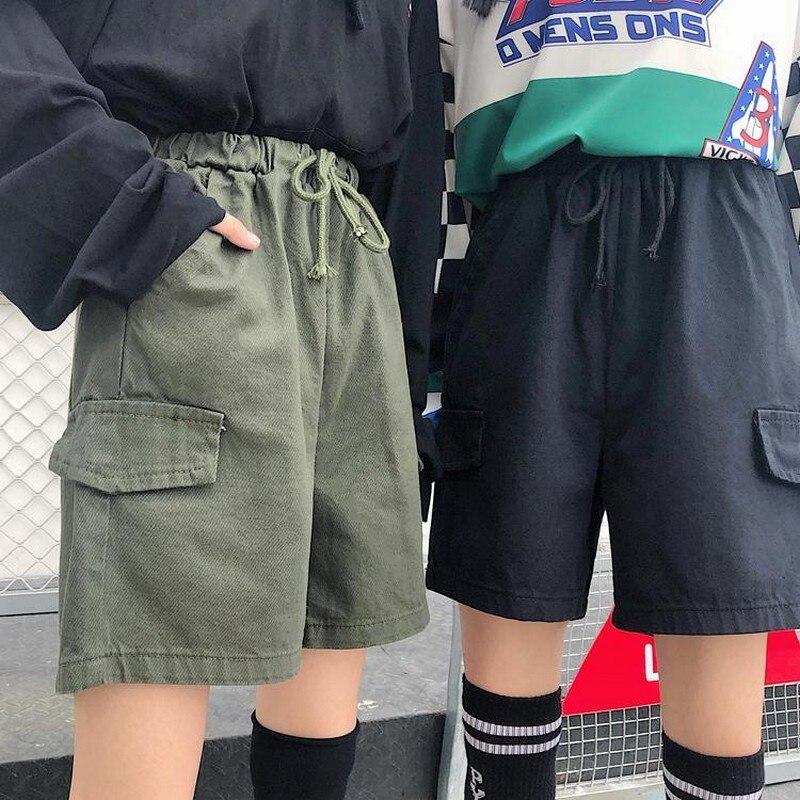 NiceMix Harajuku Women's  Shorts Couple Summer Streetwear Unisex Wide Leg Capris Casual Korean High Waist Lace Up Cargo Women