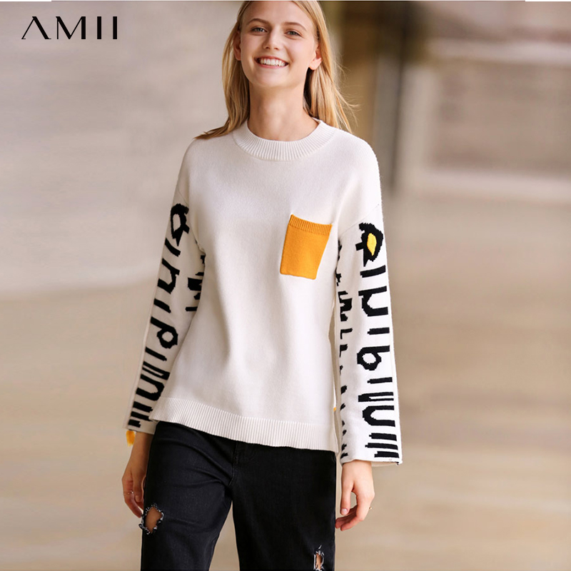 Amii Autumn Women Patchwork Letters Sweater Casual O-neck Pockets Tassel Loose Knitted Sweater 11880151